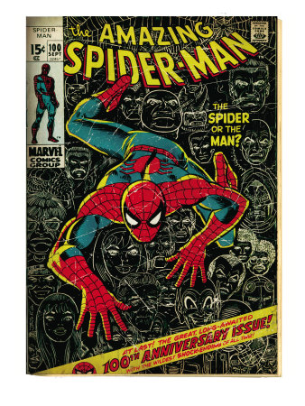Marvel Comics Retro: The Amazing Spider-Man Comic Book Cover #100, 100th Anniversary Issue (aged) Reproduction d'art
