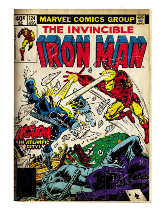 Marvel Comics Retro: The Invincible Iron Man Comic Book Cover #124, Action in Atlantic City (aged) Art Print