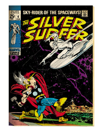 Marvel Comics Retro: Silver Surfer Comic Book Cover No.4, Thor (aged) Art Print