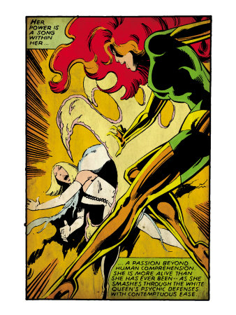 Marvel Comics Retro: X-Men Comic Panel, Phoenix, Emma Frost, Fighting (aged) Art Print