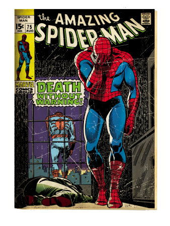 Marvel Comics Retro: The Amazing Spider-Man Comic Book Cover #75, Death Without Warning! (aged) Art Print