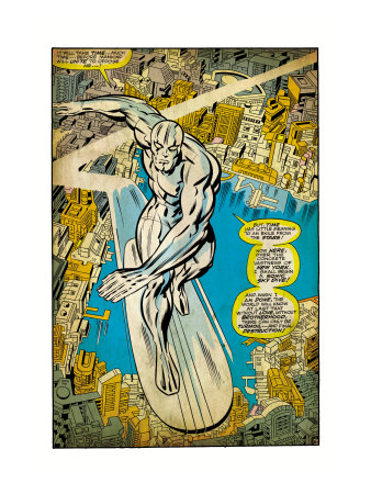 Marvel Comics Retro: Silver Surfer Comic Panel, Over the City (aged) Art Print