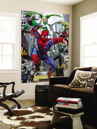 Spider-Man, Doctor Octopus, Green Goblin, Vulture, Black Cat, Electro, Lizard, Rhino and Sandman Wall Mural