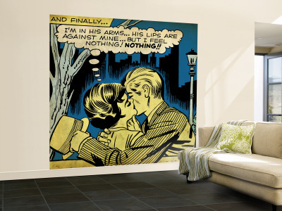 Marvel Comics Retro: Love Comic Panel, Kissing in the Park (aged) Wall Mural – Large