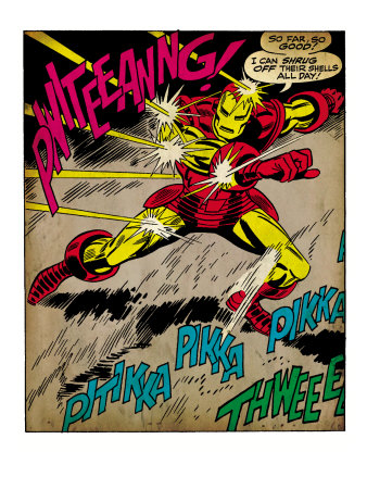Marvel Comics Retro: The Invincible Iron Man Comic Panel, Fighting and Deflecting (aged) Art Print