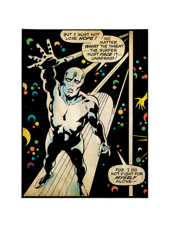 Marvel Comics Retro: Silver Surfer Comic Panel (aged) Kunstdruck
