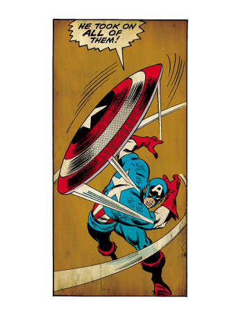 Marvel Comics Retro: Captain America Comic Panel, Throwing Shield (aged) Prints