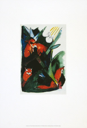 Four Foxes , Postcard to Kandinsky, c.1913 Prints by Franz Marc