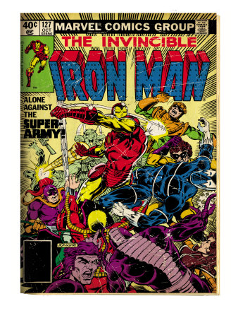 Marvel Comics Retro: The Invincible Iron Man Comic Book Cover #127, Against the Super-Army! (aged) Art Print