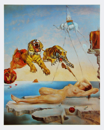 Gala and the Tigers, c.1944 Prints by Salvador Dalí