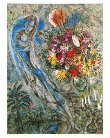 Les Amoureux en Gris, c.1960 ポスター : マルク・シャガール