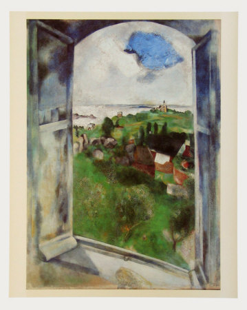 Window with View on the Island Bréhat, c.1924 高品質プリント : マルク・シャガール