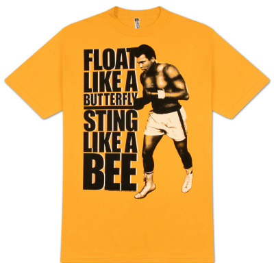 Float like a butterfly sting like a bee, muhammad ali quote saying boxing t-shirt