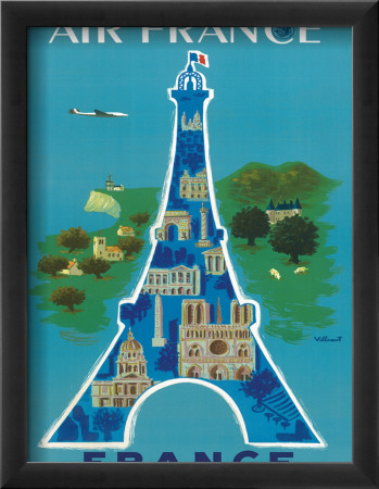 Air France: Eiffel Tower and Paris Monuments, c.1952 Lmina gicle enmarcada