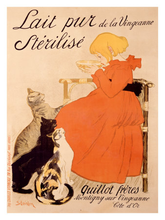 Lait Pur Sterilise Cats Giclee Print by Théophile Alexandre Steinlen