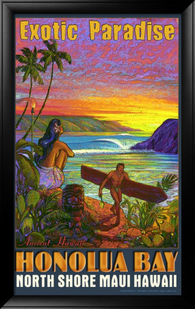 Hawaii, Honolua Bay, Maui Framed Giclee Print