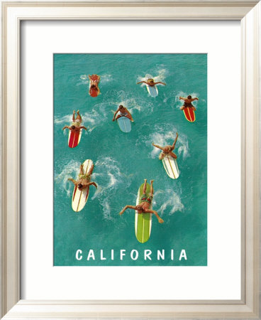 California Surfing Framed Giclee Print