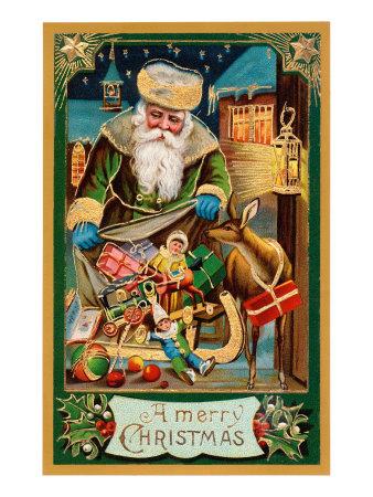 A Merry Christmas, Santa with Bag Prints