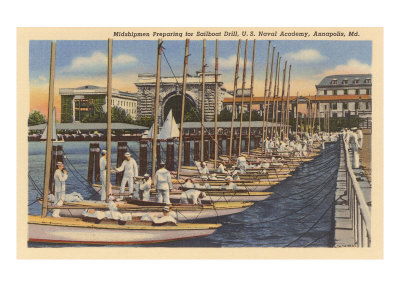 Midshipmen with Sailboats, USNA, Annapolis, Maryland Posters