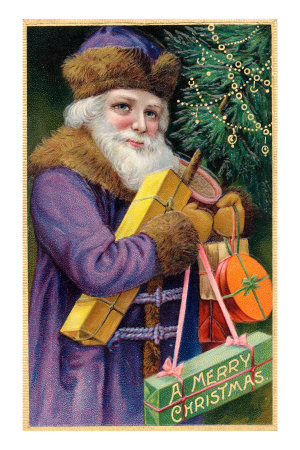 Santa Claus in Purple Premium Poster