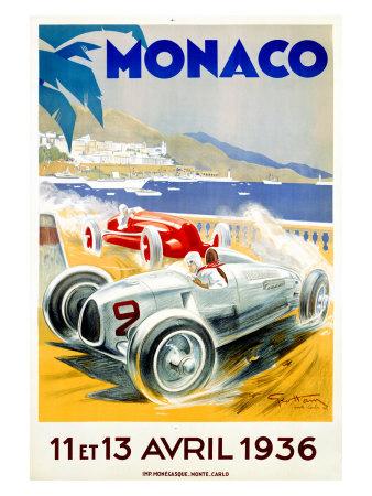 Monaco Grand Prix, 1936 Gicléetryck av Geo Ham