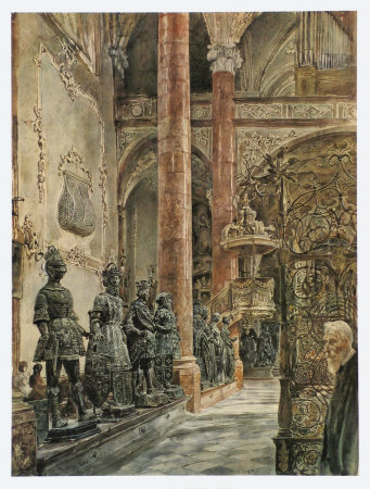 Inside of the Cathedral Hofkirche in Innsbruck Collectable Print by Rudolph von Alt