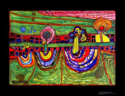 Downtownlane, c.1971 ポスター : フリーデンスライヒ・フンデルトヴァッサー