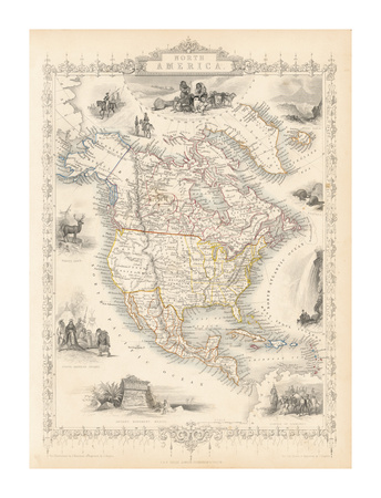 North America, 1851 Premium Giclee Print by John Tallis