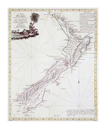 Map Of New Zealand, 1778 Premium Giclee Print