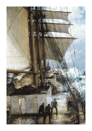 The Rising Wind on Deck Aboard Premium Giclee Print by Montague Dawson
