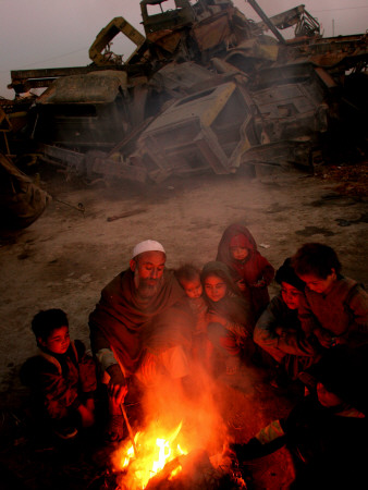 Refugees Light a Fire with Plastic and Rubbish Next to Tent in Junk Dump in Kabul, Afghanistan Photographic Print