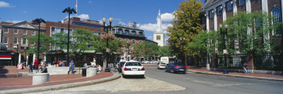 Buildings at the Roadside, Harvard Square, Cambridge, Middlesex County, Massachusetts, USA Photographic Print by  Panoramic Images