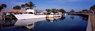 Fishing Boats Moored at a Harbor, Manasota Key, Charlotte County, Florida, USA Photographic Print by  Panoramic Images