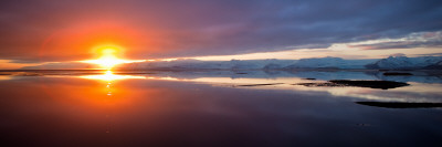 Sunset over the Sea, Hornafjordur, Iceland Photographic Print by  Panoramic Images