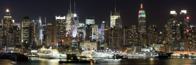 Buildings in City Lit Up at Night, Hudson River, Midtown Manhattan, Manhattan, New York City Photographic Print by  Panoramic Images