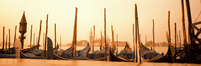 Gondolas Moored at a Harbor, San Marco Giardinetti, Venice, Italy Photographic Print by  Panoramic Images