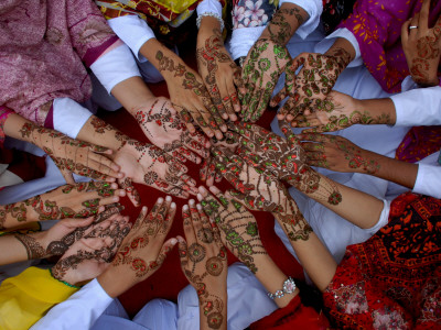 Pakistani Girls Display their Hands Decorated with Mehndi or Henna Photographic Print