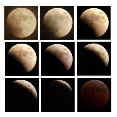 This Sequence of Photographs Shows the Total Eclipse of the Moon over Denver, Colorado Photographic Print