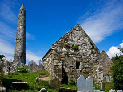 Round Tower and Cathedral in St Declan's 5th Century Monastic Site, Ardmore, Ireland Photographic Print