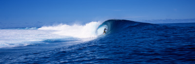 Surfer in the Sea, Tahiti, French Polynesia Photographic Print by  Panoramic Images