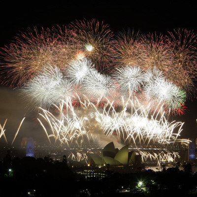 Photograph of Fireworks Flashing over Sydney Harbor During New Year Celebrations