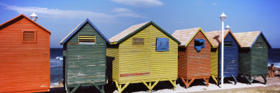 Colorful Huts on the Beach, St. James Beach, Cape Town, Western Cape Province, South Africa Photographic Print by  Panoramic Images
