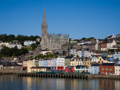 Immigrant Embarkation Harbour, Terraced Houses and St Colman's Cathedral, Cobh, Ireland Photographic Print