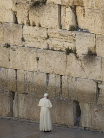 Pope Benedict XVI Stands Next to the Western Wall, Judaism's Holiest Site in Jerusalem's Old City Photographic Print
