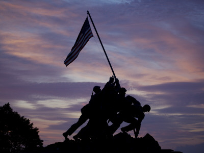 US Marine Corps Memorial is Silhouetted Against the Early Morning Sky in Arlington, Virginia Photographic Print