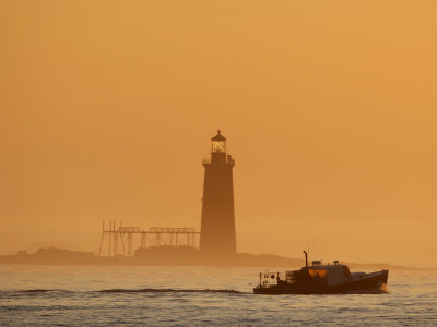 Lobster Boat Passes Ram Island Ledge Light at Dawn Off Cape Elizabeth, Maine Photographic Print