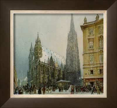 St.Stephen's Cathedral at Christmas, c.1850 Prints by Rudolph von Alt