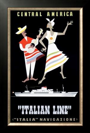 Italian Line, Central America Framed Giclee Print by Alda Sassi