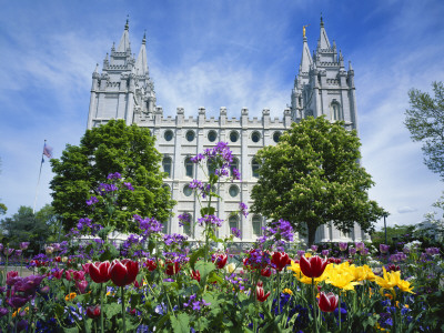 View of Lds Temple with Flowers in Foreground, Salt Lake City, Utah, USA Photographic Print by Scott T. Smith