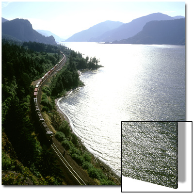 Freight Train Traveling Along Columbia River, Columbia River Gorge, Oregon, USA Art by Deon Reynolds